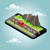 Isometric countryside. Spring road. Mobile geo tracking. Map. Car goes through rocks and trees. Flat 3d vector isometric illustration. Concept picture Stock Images