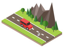 Isometric countryside. Summer road. Car goes through rocks and trees. Flat 3d vector isometric illustration. Concept picture Stock Images
