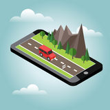 Isometric countryside. Summer road. Mobile geo tracking. Map. Car goes through rocks and trees. Flat 3d vector isometric illustration. Concept picture Royalty Free Stock Photos