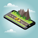Isometric countryside. Summer road. Mobile geo tracking. Map. Car goes through rocks and trees. Taxi. Flat 3d  isometric illustration. Concept picture Stock Photo