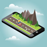 Isometric countryside. Summer road. Mobile geo tracking. Map. Man cycling on countryside summer sunny road or highway Royalty Free Stock Image