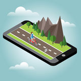 Isometric countryside. Summer road. Mobile geo tracking. Map. Woman cycling on countryside summer sunny road or highway Royalty Free Stock Photo