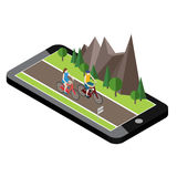 Isometric countryside. Summer road. Mobile geo tracking. Map. Woman and man cycling on countryside summer sunny road or Stock Photography