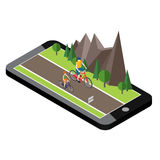 Isometric countryside. Summer road. Mobile geo tracking. Map. Woman and man cycling on countryside summer sunny road or Royalty Free Stock Photos