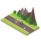 Isometric countryside. Summer road. Woman and man cycling on countryside summer sunny road or highway Royalty Free Stock Photo