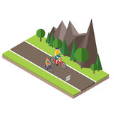 Isometric countryside. Summer road. Woman and man cycling on countryside summer sunny road or highway Royalty Free Stock Images