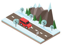 Isometric countryside. Winter road. Car goes through rocks and trees. Flat 3d vector isometric illustration. Concept picture Stock Photography