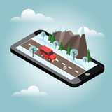 Isometric countryside. Winter road. Mobile geo tracking. Map. Car goes through rocks and trees. Flat 3d  isometric illustration. Concept picture Royalty Free Stock Photography