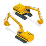 Isometric crawler excavator. Special machinery. Vector 3d flat isolated equipment for the construction industry consisting Stock Images
