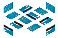 Isometric Credit cards. Vector illustration of detailed credit cards isolated on white background. Online shopping or Stock Photo