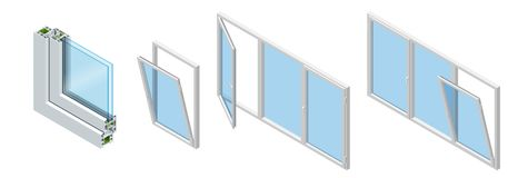 Isometric Cross section through a window pane PVC profile laminated wood grain, classic white. Set of Cross-section. Diagram of glazed windows vector illustration