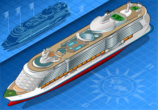 Isometric Cruise Ship in Front View Royalty Free Stock Photo