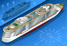 Isometric Cruise Ship in Rear View Stock Photography