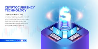 Isometric Cryptocurrency banner Vector Illustration