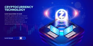 Isometric Cryptocurrency banner Royalty Free Illustration
