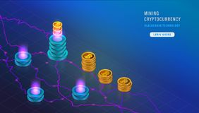 Isometric Cryptocurrency and Blockchain concept. Farm for mining bitcoins. Digital money market, investment, finance and trading. Hi tech technology. Landing stock illustration