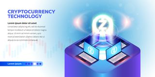 Isometric Cryptocurrency sztandar royalty ilustracja