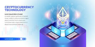 Isometric Cryptocurrency banner Stock Illustration