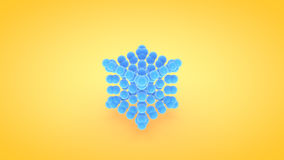 Isometric cube atom array illustration, 3D rendering.  Stock Photo