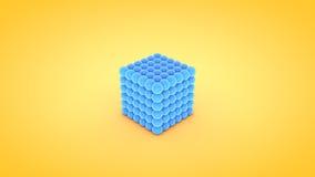 Isometric cube atom array illustration, 3D rendering.  Stock Photos