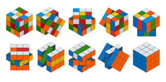 Isometric cube toy puzzle, 3x3 square. Rubiks cube on a white background. This famous cube puzzle was invented by the Stock Photo