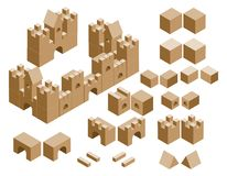 Isometric cubes castle Royalty Free Stock Photography