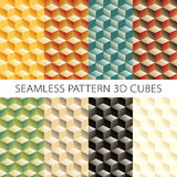 Isometric cubes set. Vector  elements games. Seamless pattern. Royalty Free Stock Image