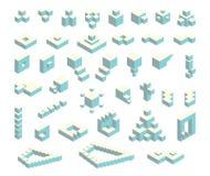 Isometric cubes set Royalty Free Stock Image