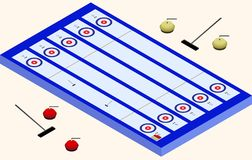 Isometric Curling stadium. Winter sport.  elements Stock Photo