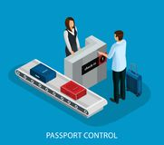 Isometric Customs Control In Airport Concept. With tourist passing passport and baggage check isolated vector illustration stock illustration