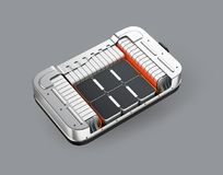 Isometric cutaway view of electric vehicle battery pack on gray background vector illustration