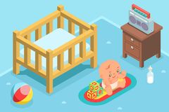 Isometric cute kid child nursery room flat design character icon vector illustration Stock Image