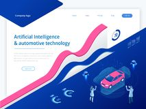 Isometric Cybernetic Robots and people works with a virtual interface in augmented reality. Virtual computer development. Of a car model using artificial royalty free illustration