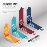 Isometric Cylinder Bar Infographic Stock Photo