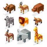 Isometric 3d african savannah animals flat vector stock. Mammal african elephant and hyena animal savannah. Creature wildlife deer animal in savannah area Stock Photo