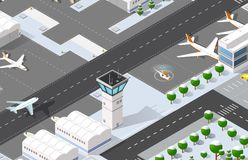 Isometric 3D airport. Dimensional illustration with jet airplane parking hotel waiting hall. Aircraft runway airline, terminal transportation Royalty Free Stock Photos