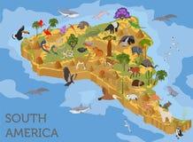 Isometric 3d Ameryka Południowa flory i fauny kartografują elementy zwierzęta royalty ilustracja
