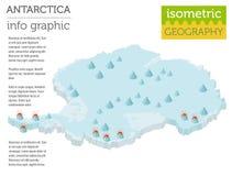 Isometric 3d Antarctica mapy fizyczni elementy Buduje twój swój ge Obrazy Stock