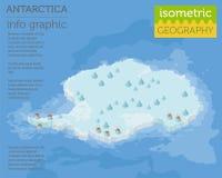 Isometric 3d Antarctica mapy fizyczni elementy Buduje twój swój ge Zdjęcia Stock