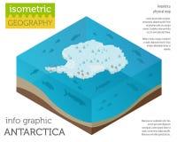 Isometric 3d Antarctica mapy fizyczni elementy Buduje twój swój ge Obrazy Royalty Free