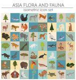 Isometric 3d Asian flora and fauna map constructor elements. Ani. Mals, birds and sea life isolated on white big set. Build your own geography infographics Stock Image