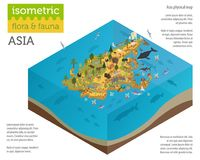 Isometric 3d Asian flora and fauna map constructor elements. Ani. Mals, birds and sea life isolated on white big set. Build your own geography infographics Royalty Free Stock Photo
