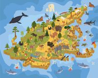 Isometric 3d Asian flora and fauna map constructor elements. Ani Stock Photos