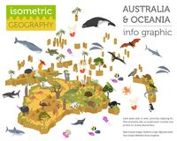 Isometric 3d Australia and Oceania flora and fauna map elements. Animals, birds and sea life. Build your own geography infographics collection. Vector Stock Photos