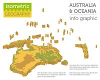 Isometric 3d Australia and Oceania physical map elements. Build. Your own geography info graphic collection. Vector illustration Stock Photo