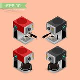 Isometric 3d automatic coffee maker machine with hot cup. Isolated vector illustration design Stock Images