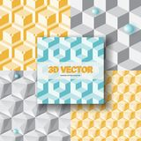 Isometric 3d  Background. With Cubes. Futuristic Geometric Seamless Pattern. Optical Illusion of Volume Royalty Free Stock Photo