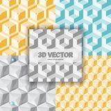 Isometric 3d  Background. With Cubes. Futuristic Geometric Seamless Pattern. Optical Illusion of Volume Stock Photos