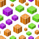 Isometric 3d  Background. With Cubes. Futuristic Geometric Seamless Pattern. Optical Illusion of Volume Royalty Free Stock Photography
