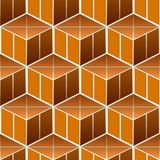 Isometric 3d  Background. With Cubes. Futuristic Geometric Seamless Pattern. Optical Illusion of Volume Stock Photo